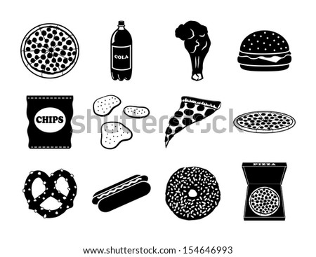 Junk Food Icon Set - stock vector