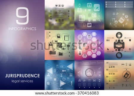 jurisprudence infographic with unfocused background - stock vector