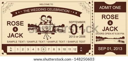 Just Married : Brown Wedding Car Ticket Invitation Card vector Illustrator - stock vector