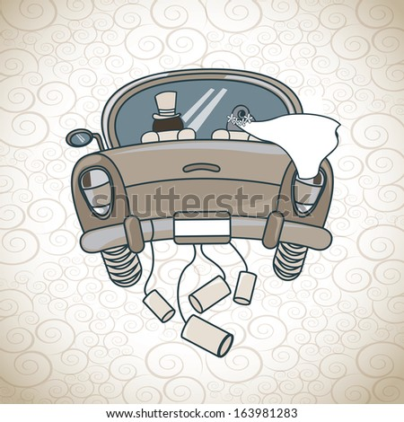 just married car  over pattern background  vector illustration  - stock vector