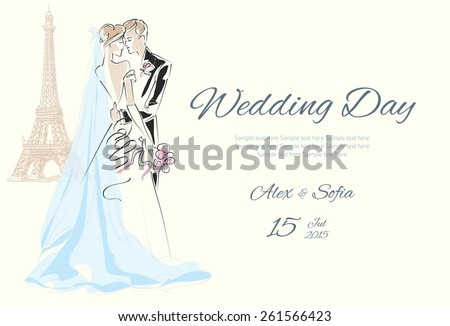 Just married couple in Paris near the Eiffel tower - stock vector
