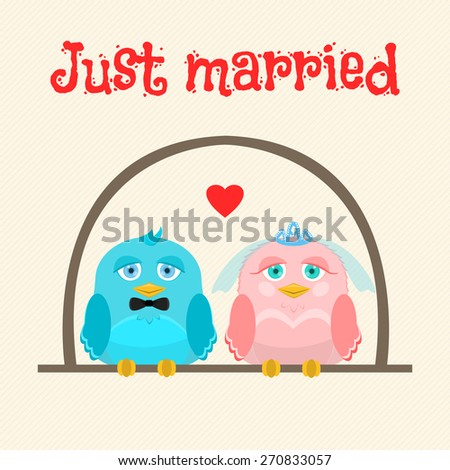 Just married. Cute birds - the bride and groom. Vector greeting card. - stock vector