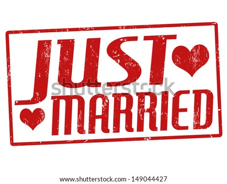 Just married grunge rubber stamp, vector illustration - stock vector