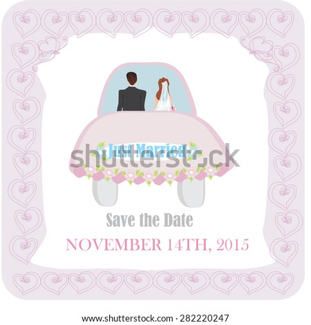 Just married. wedding car - stock vector