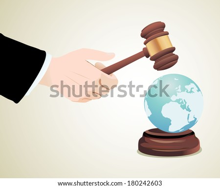 Justice Gavel with Earth Globe - stock vector