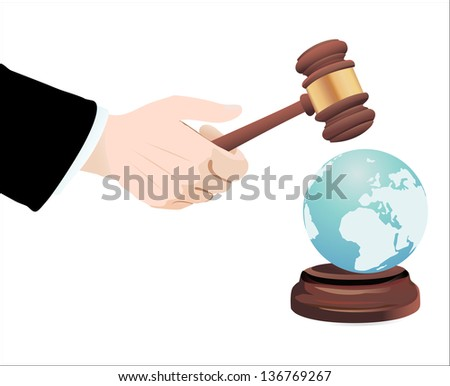 Justice Gavel with Earth Globe on a white background - stock vector