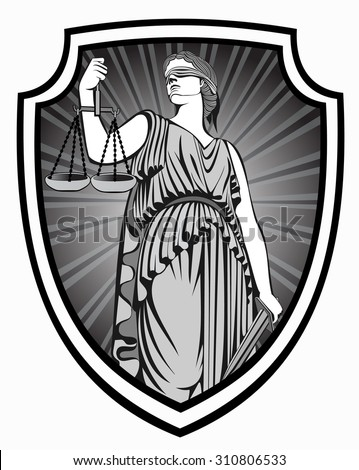 justice . Greek goddess Themis . Equality .  fair trial . Law .defense shield - stock vector