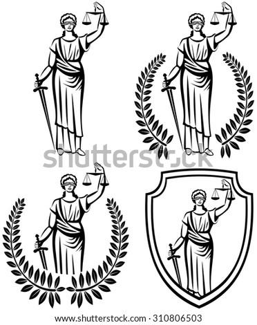 justice . Greek goddess Themis . Equality .  fair trial . Law . Laurel wreath .defense shield . - stock vector