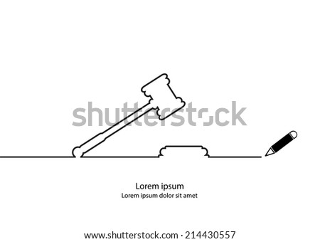 Justice hammer contour vector - stock vector