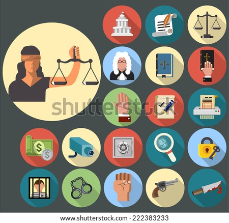 Justice Icons - stock vector