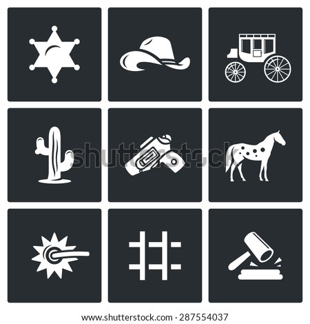 Justice in the wild west icons set. Vector Illustration. Isolated Flat Icons collection on a black background for design - stock vector