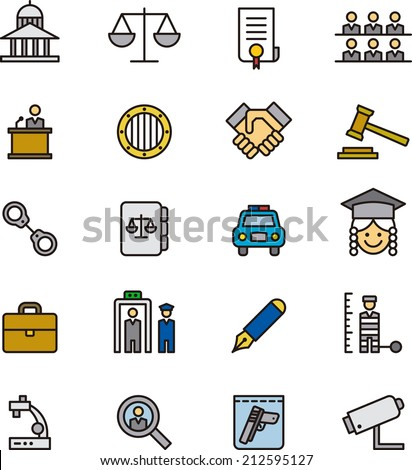 Justice & Law icons - stock vector