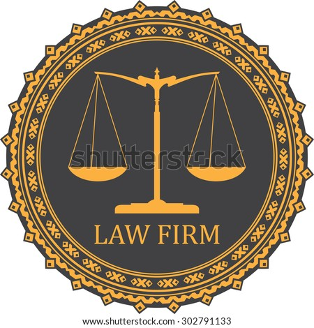 Justice scale icon with caption LAW FIRM - stock vector