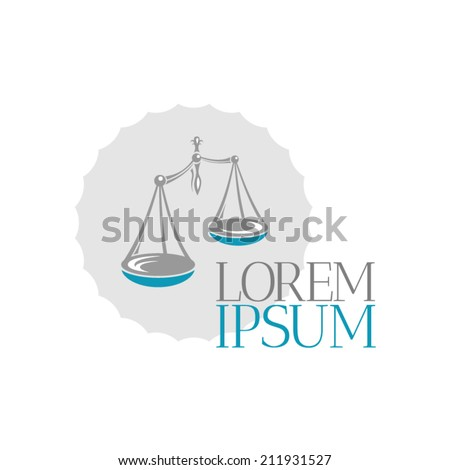 Justice scales lawyer logo design template. - stock vector