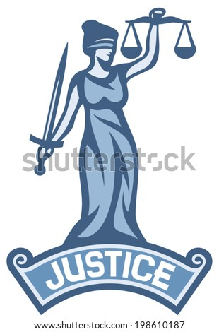 justice statue label (scales of justice symbol, lady justice - a goddess of justice) - stock vector