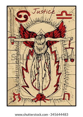 Justice.  The major arcana tarot card in color, vintage hand drawn engraved illustration with mystic symbols. Woman holding sword and scales and standing on human scull against fire background. - stock vector