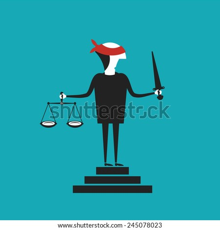 Justice vector concept in flat cartoon style - stock vector