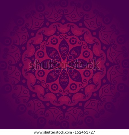 Kaleidoscopic floral pattern, mandala design in pink and purple colors - stock vector