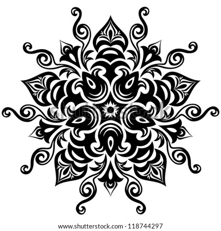 Kaleidoscopic floral pattern. Mandala in black and white - stock vector