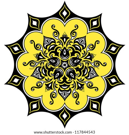 Kaleidoscopic floral pattern. Mandala in yellow black and white - stock vector