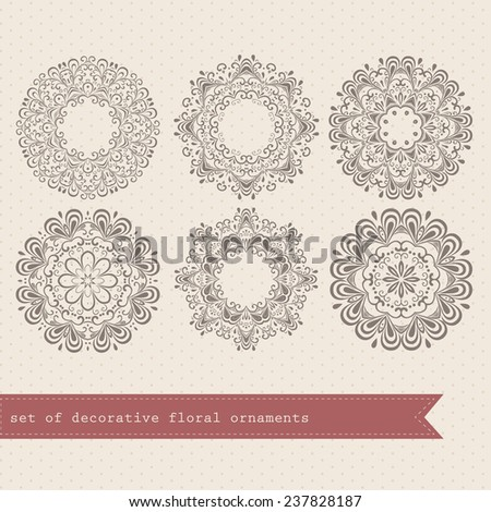 kaleidoscopic floral pattern. Set of six ornament lace. ornamental round lace pattern, circle background with many details, looks like crocheting handmade lace - stock vector