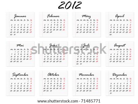 Kalender fuer das Jahr 2012 in deutscher Sprache - stock vector
