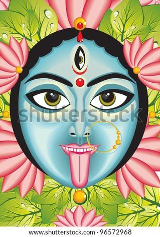 Kali - Indian Goddess face, vector - stock vector