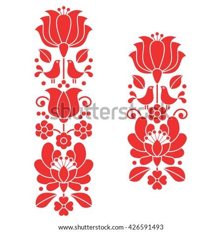 Kalocsai red embroidery - Hungarian floral folk art long patterns - stock vector