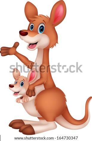 Kangaroo cartoon waving - stock vector