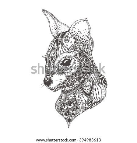Kangaroo. Hand-drawn kangaroo with ethnic floral doodle pattern. Coloring page - zendala, design for spiritual relaxation for adults, vector illustration, isolated on a white background. Zen doodles. - stock vector