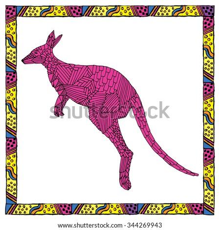 Kangaroo jump. Hand drawn vector illustration - stock vector