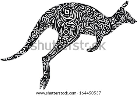 Kangaroo monochrome - stock vector