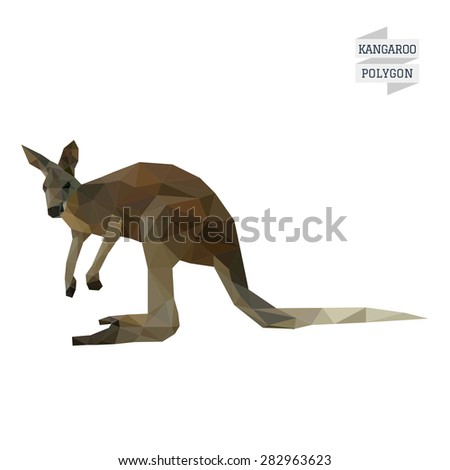 Kangaroo polygon vector - stock vector