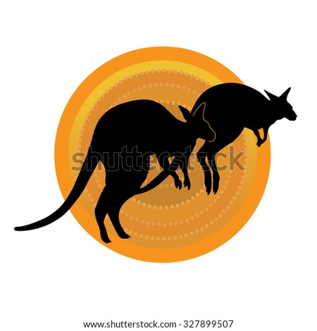 Kangaroos Running - stock vector