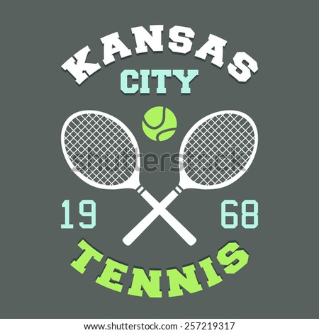 Kansas City tennis championship, t-shirt sport typography label  - stock vector