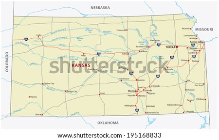 kansas road map - stock vector