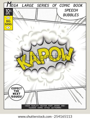 Kapow. Explosion in comic style with lettering and realistic puffs smoke. 3D vector pop art speech bubble - stock vector