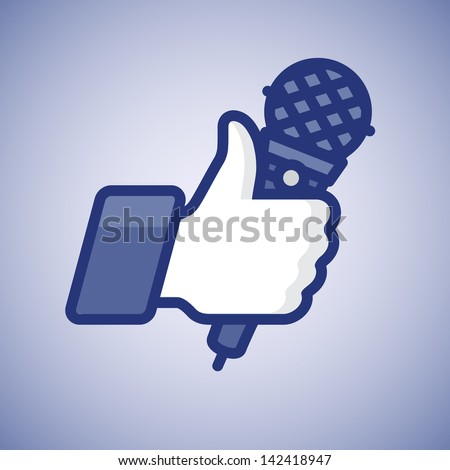 Karaoke Like/Thumbs Up symbol icon with microphone, vector illustration.  - stock vector