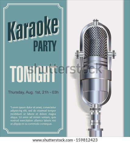 Karaoke retro night background - stock vector