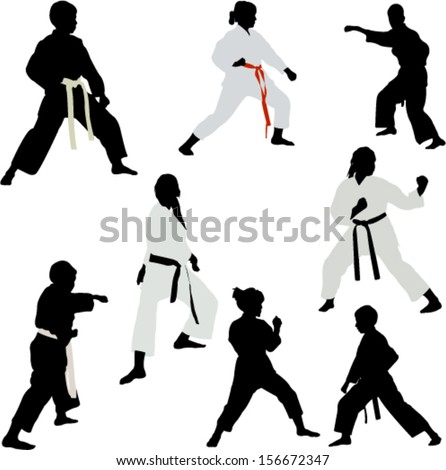 karate fighters 1 - vector - stock vector