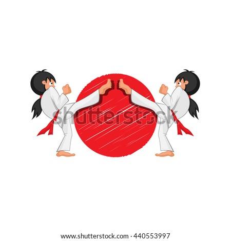 Karate girls - stock vector
