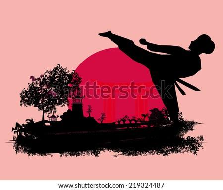 karate Grunge card - stock vector