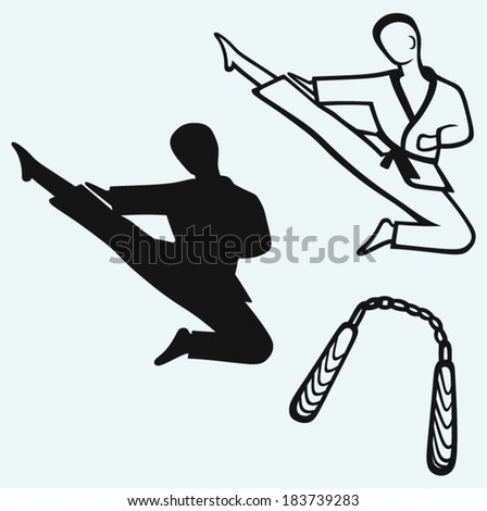 Karate male, young fighter and nunchaku weapon - stock vector