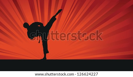 karate silhouette background - stock vector