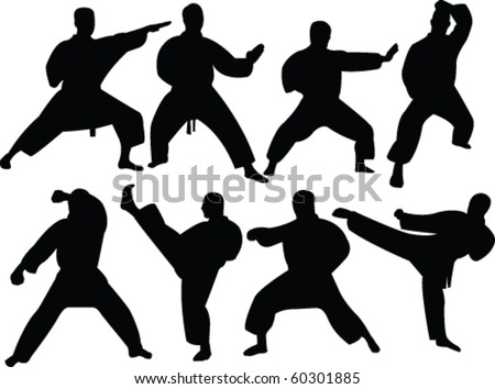 karate silhouette collection - vector - stock vector