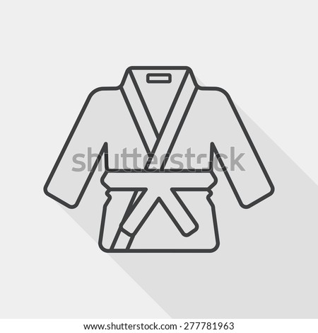 Karate suit flat icon with long shadow, line icon - stock vector