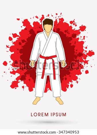 Karate suit with red martial arts belts on grunge splash background graphic vector. - stock vector