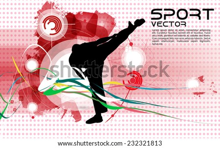Karate warrior, vector illustartion - stock vector