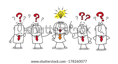 Karen is the best in the team. She finds the solution ! - stock vector