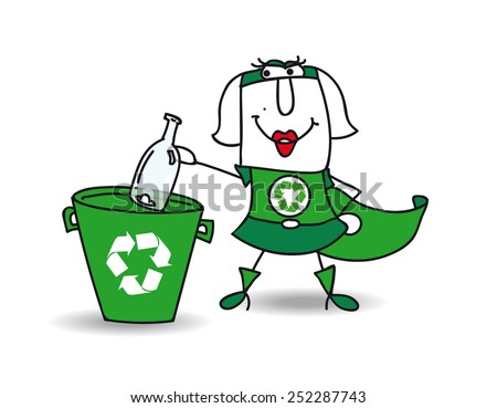 Karen the Recycle-woman recycles a glass bottle in a specific trash - stock vector